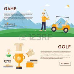 Hombre que juega a golf monta�as en el fondo. Ganador de la Copa y los iconos alrededor. 2 banderas. Ilustraci�n vectorial de estilo Flat. photo