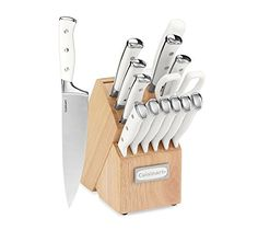 """You'll love the classic look and feel of these triple rivet stainless steel knives from Cuisinart. The set includes the essential knives for every food prep task. Superior high-carbon stainless steel blades Hand wash Set includes 8"""" Chef Knife, 8"""" Slicing Knife, 7"""" Santoku Knife, 5.5"""" Utility Knife, 3.5"""" Paring Knife, 2.75"""" Bird's Beak Paring Knife, 4.5"""" Steak"""