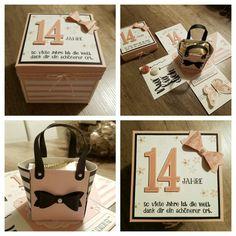 Explosionsbox zum 14. Geburtstag mit einer süßen Handtasche