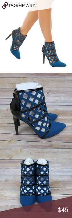 Blue pointed toe ankle booties Brand: Madison (shoedazzle) Size: 8 New(with box) Colors: Blue and Black  Faux leather  Faux patent  Pointed toe  Lasercut  Back zipper  Ankle bootie Shaft: 4in Heel height: 4.25in No trade Shoes Ankle Boots & Booties
