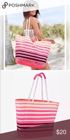 "2017 Victoria's Secret Tote This bag is too cute and the colors are to die for! Definitely a go-to bag for the pool or beach this summer. The straps even have smooth handles so the rope doesn't hurt your shoulder 💞 very nice quality tote with a great design ✨💞  Measurements:  23.5""L x 6""W x 15.5""H   { # VS PINK candice swanepoel karlie kloss adriana lima chanel iman beachy summer spring break fashion striped coral designer logo cruise miami bahamas vacation south beach california LA ombré…"