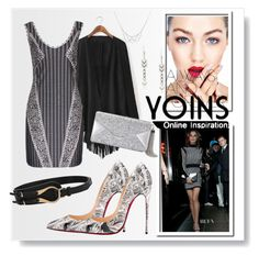 """yoins"" by karolay-marquez-bustamante ❤ liked on Polyvore featuring Balmain, Christian Louboutin and BCBGMAXAZRIA"