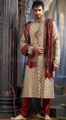 Deep Beige Jacquard Fabric Embroidered Sherwani