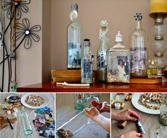 You will love this collection of gorgeous Picture Frame Bottles and they are so quick and easy to make. Photo Projects, Art Projects, Projects To Try, Mason Jar Crafts, Bottle Crafts, Recycled Jars, Crafty Craft, Crafting, Photo Craft