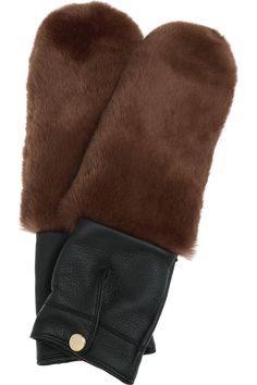 Marni  Rabbit and leather mittens