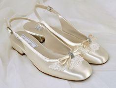 Flower Girl Wedding Shoes  Vintage Lace  Sling Backs by Pink2Blue, $80.00