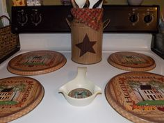 Country Burner Covers Stove Burner Covers, Stove Top Burners, Stove Top Cover, Kitchen Stove Top, Apple Kitchen Decor, Country Kitchen, Primitive Crafts, Country Primitive, Wood Crafts