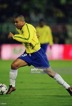 Ronaldo of Brazil runs with the ball during the International Friendly match between Portugal and Brazil played at the Estadio Jose Alvalade, in Lisbon, Portugal on April 17, 2002. The match ended in a 1-1 draw.