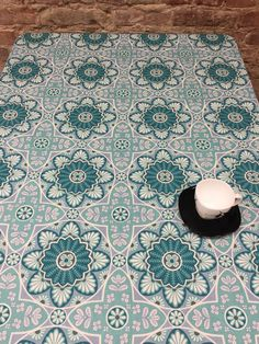 Tablecloth turquoise ornamented ,kitchen Cotton turquoise tablecloth by SiKriDream on Etsy