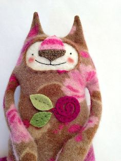 Stuffed Animal Cat Upcycled Repurposed Sweater by sweetpoppycat