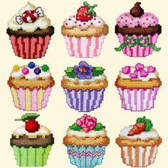 cross stitch cup cakes