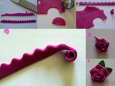 Making a rose with the wavy blade. #polymer #clay #tutorial rosa ondas ruffle fondant sugarpaste