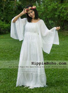No.41 - Size XS-5X Hippie Boho Clothing Gypsy Long Sleeve Bell Sleeve White Plus Size Costume Full Length Maxi Dress – HippieBoho.com   Hippie Boho Gypsy Clothing XS-5X Handmade Women's Clothing Dress Skirt Blouse 30 Colors Available