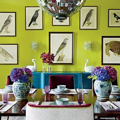 This collection of custom framed bird prints is fantastic... When they're set against this bold wall they become amazing!
