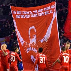 """""""Proud of my new flag on the kop thanks to the lads who are behind it . .great support again tonight . All to play for next week . #spionkop #ynwa"""""""