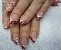 Red Glittery French Gel Nail Polish