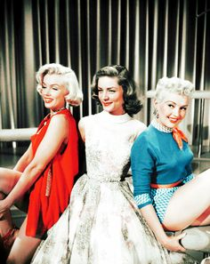 Betty Grable, Lauren Bacall and Marilyn Monroe in publicity stills for How to Marry a Millionaire, 1953. Directed by Jean Negulesco.
