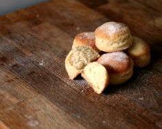 Drowned doughnuts - an unusual method for dough that makes for incredibly light and fluffy treats - no frying either! Bake Off Recipes, Brunch Recipes, Baking Recipes, Sweet Dough, Great British Bake Off, Sweets Cake, Small Cake, Cook At Home, Doughnuts