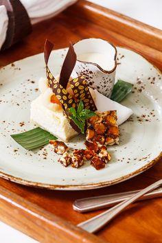 White Chocolate Lychee Cheese Cake/Peanut Brittle/coconut Rum Sauce Anglaise  #Recipe #Jamaica #CouplesResorts #FoodRecipe #Cuisine