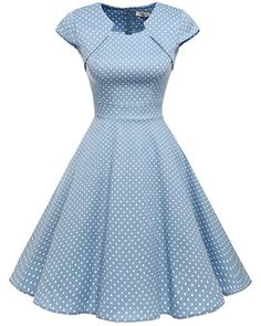 Homrain Damen 50er Vintage Retro Kleid Party Kurzarm Rockabilly Cocktail  Abendkleider Blue Small White Dot L 36cedbbc51