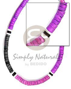 Nativo 4 5mm Coco Heishe Lavanda Rosa Combinación De Almejas Blancas Negras Collar Para Hombre. Collar unisex Joyeria al por mayor