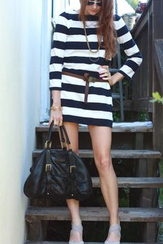 striped dress + belt.