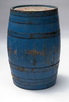 Original Old Blue Paint Antique Wooden Advertising Barrel Primitive Furniture, Primitive Antiques, Country Primitive, Barris, Barrel Projects, Country Blue, Milk Cans, Love Blue, Shades Of Blue