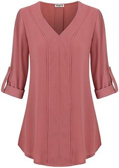 Women's Casual V Neck Long Sleeve Loose Solid Office Pleated Chiffon Blouses Shirts Tops – Pink – Damenbekleidung, Tops & Tees, Blusen & Button-Down-Shirts, Damen Casual V-Ausschnitt Langarm Lose Feste Büro Plissee Chiffon Blusen Shirts Tops – Pink – Office Outfits Women, Mode Outfits, Casual Outfits, Women's Casual, Casual Office, Casual Wear, Casual Shirts, Summer Outfits, Blouse Styles