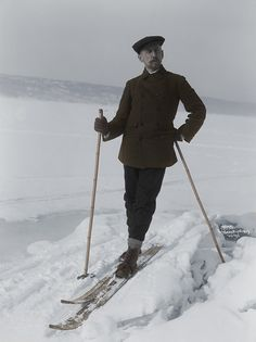 A quick colorization of Amundsen skiing in March 1909Original