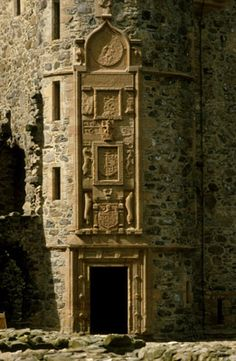 Ornately carved doorway at Huntly Castle