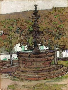 """""""The Miraculous Fountain,"""" Jane Peterson, watercolor, charcoal and gouache on paperboard, 24 x 18"""", private collection."""