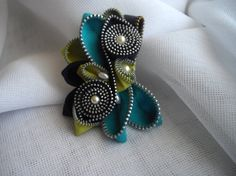 SOLD GALLERY Turquoise Vintage Zipper Brooch by handcraftusa, $27.99