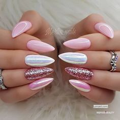 Mix nail design for almond nail shape. Are you a fan of almond nails? To tell the truth, we love how feminine and soft these … Mix nail design for almond nail shape. Are you a fan of almond nails? To tell the truth, we love how feminine and soft these … Almond Nails Designs, Pink Nail Designs, Acrylic Nail Designs, Acrylic Gel, How To Do Nails, Fun Nails, Almond Shape Nails, Nails Shape, Almond Nails Pink