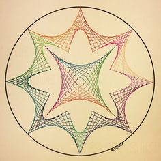 #geometry #symmetry #square #tessellation #tiling #Escher #string #art #handmade #handpainted String Art Templates, String Art Patterns, Arte Linear, Art Optical, Spirograph, Math Art, Zentangle Patterns, Psychedelic Art, Wire Art