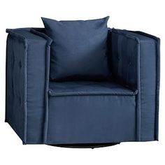 Cushy Swivel Chair, Navy Suede