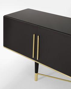Modern Designer Black Ash Balmain Buffet/Sideboard - Black Steel ...