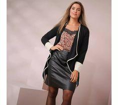 Dlouhý svetr s cípy | blancheporte.cz #blancheporte #blancheporteCZ #blancheporte_cz #moda #fashion #exkluzivni #exclusive Modeling, Leather Skirt, Skirts, Style, Fashion, Plus Size, Jacket, Fashion Ideas, Moda