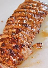 Pork Tenderloin - so good! (marinated in olive oil, soy sauce, red wine vinegar, lemon juice, Worcestershire sauce, parsley, dry mustard, pepper and garlic)- GF soy sauce...