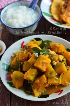 南瓜炒虾米 Stir Fried Pumpkin with Dried Shrimp