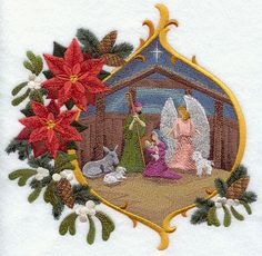 RP: Machine Embroidery: Stable Scene with Christmas Flowers