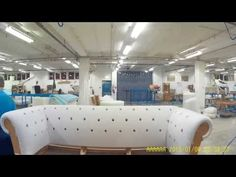 tufting a chesterfield sofa at tetrad - YouTube