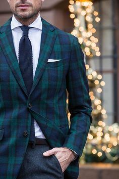 black watch tartan plaid blazer by Tommy Hilfiger | He Spoke Style