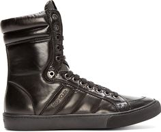 Moncler: Black Leather High-Top London Sneakers
