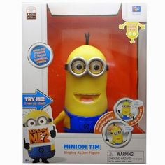 Over 25 Minion sayings/giggles in Original voice & 3 song clips Press Tim's chest button to hear Tim talk with funny expressions Press again or move his head for another response/expressions Singing Mode - Quickly move Tim's head left & right 6 times to activate his Singing mode; Move his head again to hear more of his singing Soft skin Try Me packaging-2 AA batteries included for in-store demonstration; Ages 4 and up Packaging May Vary