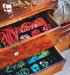 A whole dresser full of turquoise and coral jewelry! @Caitlin Burton C