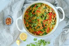 Watch How to Make It Here This recipe starts at beautiful is this curry? In my opinion, vibrant foods are the best. Bright veggies are nutrit Vegan Bean Recipes, Lime Recipes, Vegan Soups, Curry Recipes, Vegetarian Recipes, Healthy Recipes, Vegan Dinner Recipes, Vegan Meals, Vegan Dishes
