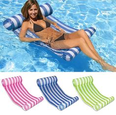 Swimming Pool Float Hammock Inflatable Stripe Water Hammock Lounge 6 Colors For Choice With Pump
