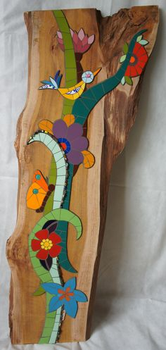 Wood and tile Mosaic Animals, Mosaic Birds, Mosaic Flowers, Mosaic Wall Art, Mosaic Diy, Mosaic Garden, Mosaic Crafts, Mosaic Projects, Mosaic Designs