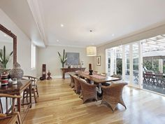 Dining room ideas - Find dining room ideas with photos of dining rooms Dining Rooms, Dining Table, Classic Dining Room, Open Plan Living, French Doors, Living Area, Room Ideas, Real Estate, Flooring