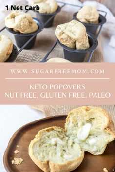 These easy, keto popovers require less than 7 ingredients and taste amazing with any entree you're serving! | Sugar Free Mom Low Carb Bread, Keto Bread, Low Carb Keto, Gluten Free Recipes, Low Carb Recipes, Cooking Recipes, Bread Recipes, Keto Bagels, Us Foods